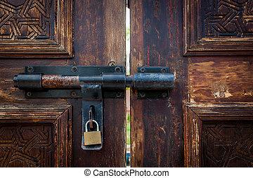 old door lock with key