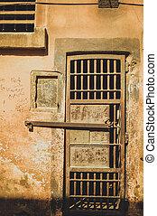 old door of prison at cairo citadel, egypt