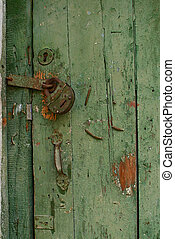 old door with a padlock