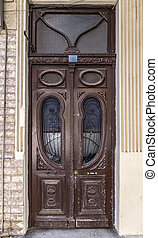 Old door with art nouveau ornaments