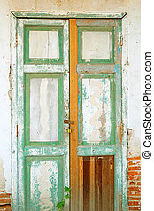 old door with brick wall