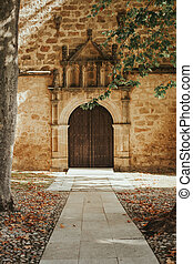 Old door with wrought iron decoration