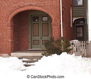 Old doorway 0208_210 - Antique wood doors on old brick...