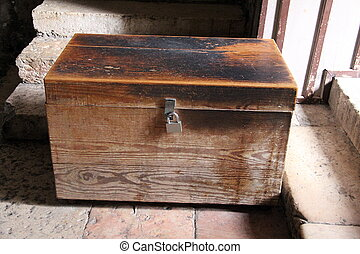 Old dower chest in the Tomb of the Virgin Mary. Jerusalem