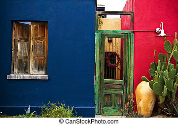 Colorful adobe restored housing in the Barrio Viejo in Down Town Tucson