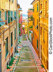 Old downhill street in Genoa city