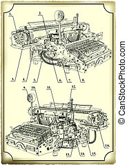 Old drawing of the Typewriter.