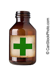Old drug bottle , isolated, clipping path.