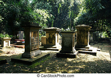 Old Ducth Cemetery in Botanical Garden Bogor, Java -...