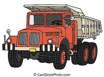 Hand drawing of a classic red dumper truck - not a real model