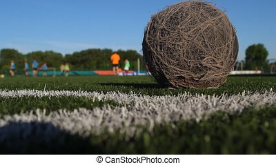 Old dusty ball lies on the soccer field