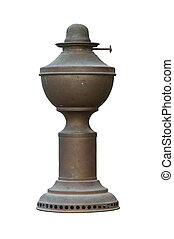 Old dusty oil lamp - isolated old dusty oil lamp on white...