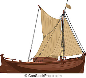 old Dutch boat - vector illustration of an old Dutch...