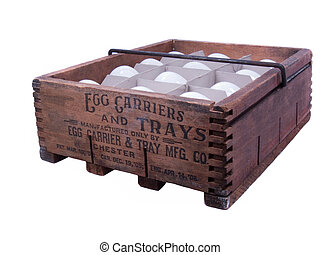 100 year old wooden egg carton designed to hold one dozen eggs.