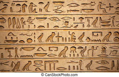 hieroglyphs carved on the stone
