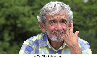 Old Elderly Hispanic Man Thinking