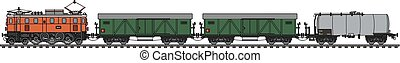 Old electric freight train - Hand drawing of a classic...