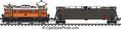Old electric locomotive and tank wagon