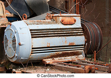 Old electric motor with belt drive