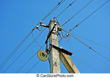 Old electric pole with wires