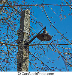 Old electric street lamp .