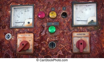 Old Electrical Control Panel. UltraHD video - Old, ...