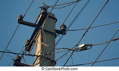 Old Electricity Wires - Old electricity wires on the pole