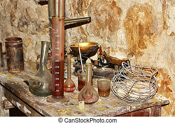 old elements for the creation of wine