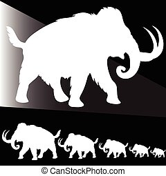 old elephant white illustration