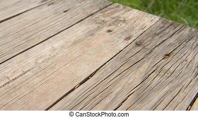 Footage showing an old wooden boardwalk