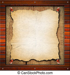 Old Empty Paper in Wood Frame - Blank and vintage paper in...