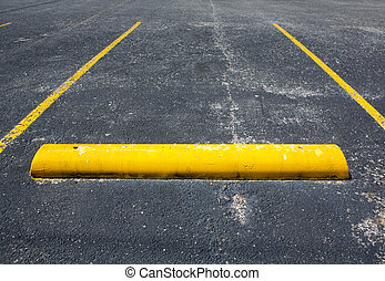 Old Worn Empty Parking Space with room for copy