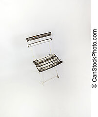 old empty wooden chair isolated on background