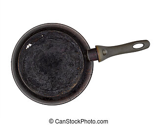 Old encrusted, burned frying pan, isolated on white background. Underside