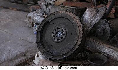 Old engine flywheel dirty spare parts