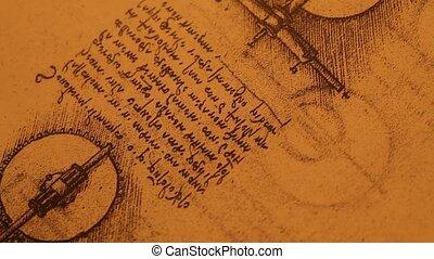 Old Engineering drawing - 14th Century Leonardo da...