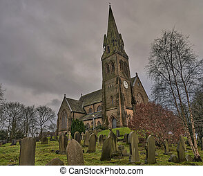 wide shot of Saint Martins church in Castleton, Rochdale