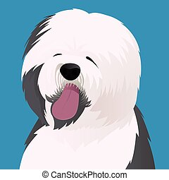 Old English Sheepdog close up vector illustration