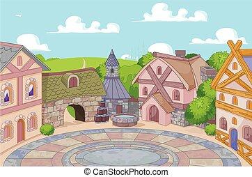 Old English Style Street - Illustration of old English style...