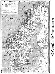 Old engraved illustration of map of Scandinavia - Sweden, ...