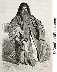 Old engraved portrait of Melethios Bajanelles, Father Superior in Saint Catherine's Monastery, Sinai, Egypt. Created by Pottin, published on Le Tour du Monde, Paris, 1864