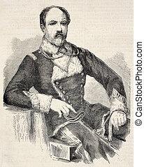 Golescu - Old engraved portrait of Nicolae Golescu Prime...