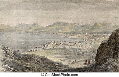 Palermo from Mount Pellegrino - Old engraving of a view of...