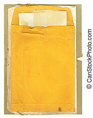 Old Envelope and Papers - Old stained, used, manila envelope...