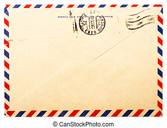 old envelope back side with russian meter stamps isolated on...