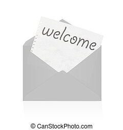 Old envelope with paper isolated in white