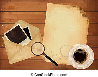Old envelope with photos and old paper on wooden background. Vector.