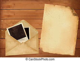 Old envelope with photos and old paper on wooden background. Vector