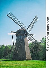 Old estonian windmill on the hill.