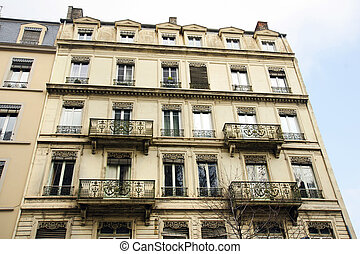 Old European apartments with balconies
